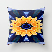 Orange Flower Mandala Throw Pillow by Laura Santeler