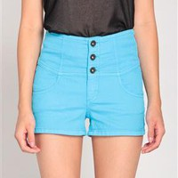 High Waisted Three Button Shorts in Blue