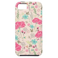 Chic Pink Rose Flower Pattern iPhone 5 Case