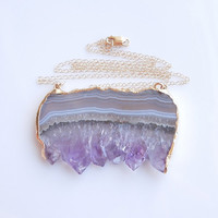 Raw Amethyst Druzy Necklace - Large Drusy Necklace - Slice Style - OOAK Jewelry