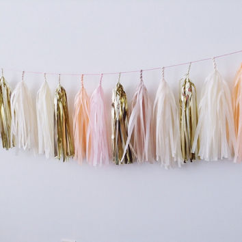 Blush Bellini Tassel Garland (Champagne, Gold, Blush pink, Peach)