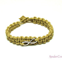 Chunky Infinity Bracelet, Beige Macrame Hemp Jewelry, 2mm Cord, Made to Order