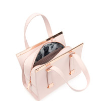 Leather metal bar tote bag - Pink | Bags | Ted Baker UK