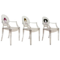 Set of Three Louis Ghost Armchairs Exclusively Designed for the Paris Kong Restaurant by Philippe Starck