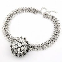 Silver Royal Ice Crystal Ball Statement Necklace