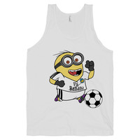 Minion Soccer on a White Tank Top
