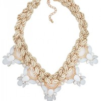 White Crystal Rope Statement Necklace in White
