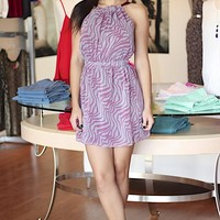 Purple Abstract Print Halter Dress