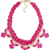 Crystal Rope Statement Necklace in Pink