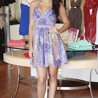 Purple Sleeveless Abstract Print Dress