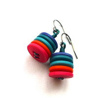 Colorful Button Stack Earrings with Pink, Orange, Aqua, Blue