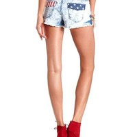 Flag Print Acid Wash Cut-Off Denim Shorts