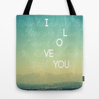 Adventures and I Love You Tote Bag by RichCaspian | Society6
