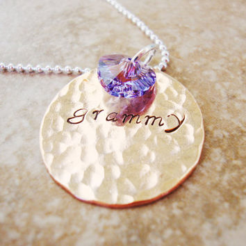 Grandmother handstamped necklace with swarovski crystal heart