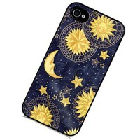 S9Q Vintage Retro Sun Moon Space Nebula Pattern Hard Back Skin Case Cover For Apple iPhone 4 4G 4S Style A