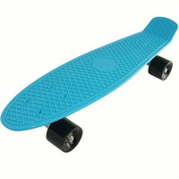 Plastic Complete Skateboard Complete Blue Deck Penny Size Stereo-Sonic Tail with expedited Shipping (black wheels, 27 Inches)