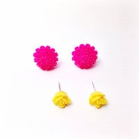 Handmade Hot Pink Dahlia Earrings and Dainty Yellow Rose Earring Set
