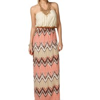 IvoryTaupePeach Chevron Lace Maxi Dress
