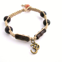 Yoga Bracelet, Ohm Hemp Bracelet, Om Jewelry, Wood Beaded Hemp Bracelet Square Knot Eco-Friendly Bracelet