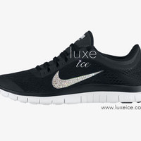 NIKE run free 3.0 V5 running shoes w/Swarovski Crystals detail - Black/Metallic Silver/Anthracite