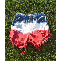 Red, White, & Blue Tie-Dye High-Waisted Shorts (Made to Order)