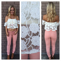 Ivory Lace Carnation Off Shoulder Crop Top