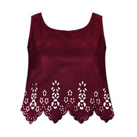 LASER CUT FAUX SUEDE TOP