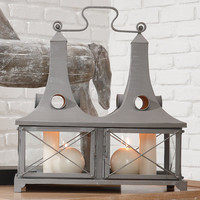 Global Views Siamese Lantern-Grey Finish Set Of 2|9-91297 at livingcomforts.com