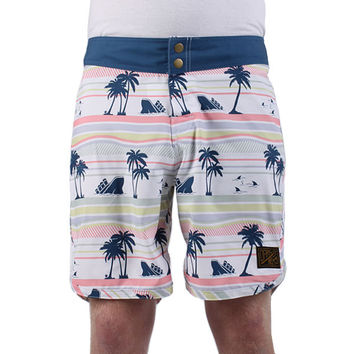 Dark Seas Oakum Board Shorts - Blue/white at Urban Industry