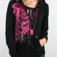 Iron Fist - Womens Wishbone Sequins Hoodie In Black
