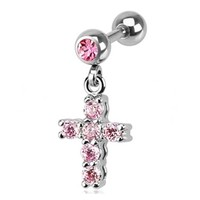 Pink Gemmed Cross Dangle Cartilage Earring Body Jewelry Piercing