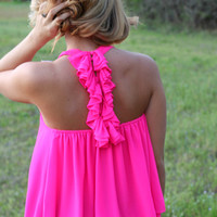 Ruffled Around the Edges Tank: Hot Pink - Off the Racks Boutique