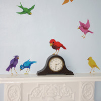 Rainbow bird wall stickers- unique wall decals by Lola Murals