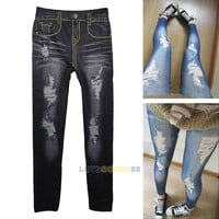 Close-fitting False Hole Ninth Pants Imitation Jeans Leggings Pencil Pants LS4G