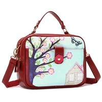Floral Print Purse Handbag Cross Body Messenger Bag