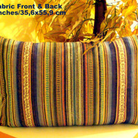 Lumbar happy colors – Hand loomed rainbow stripe cover 14x22