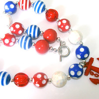 Red White And Blue Anchor Chunky Beaded Necklace Toddler To Women Fashion Jewelry