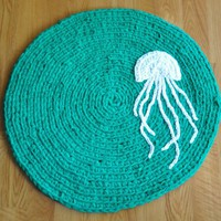 EKRA Custom Made Upcycled Round Jellyfish Area Rug by ekra on Etsy