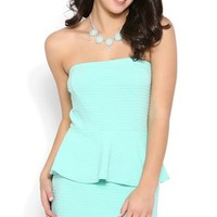 Strapless Peplum Dress with Texture Knit Fabric