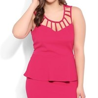 Plus Size Peplum Bodycon Dress with Latice Neckline