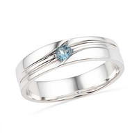 Men's Aquamarine Ring in Sterling Silver