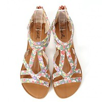 Qupid Athena-673a Strappy Floral Sandals | MakeMeChic.com