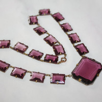 Art Deco Necklace Amethyst Crystal Vintage Antique 1920s Jewelry