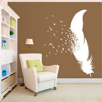 Wall Decal Vinyl Sticker Decals Art Decor Plumage Feather Birds Nib Style Falling Feather Peacock Living room Bedroom Modern Fashion (r503)