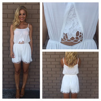 White Floral Embroidered Romper