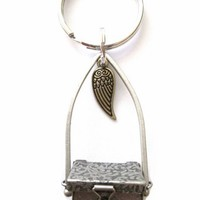 Metal Treasure Keepsake Prayer Box Key Chain with Angel Wing Charm | StarlightSarah - Accessories on ArtFire
