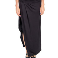 Fold Over Side Slit Tulip Skirt - Black