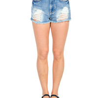 Distressed Shorty Denim Shorts