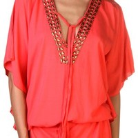 Back From Bali Womens Tunic Plunging V-Neck with Gold Bead Embellishment