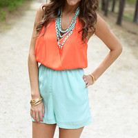 Two Tone Romper, Orange/Teal